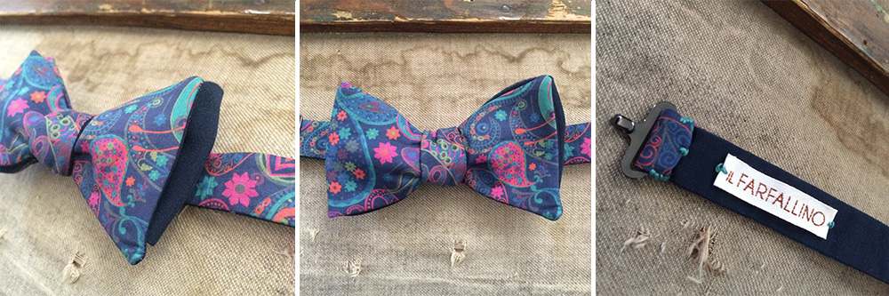 Papillon in cotone Liberty London e seta blu