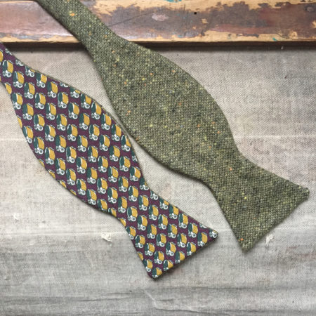 Papillon gufo seta e tweed bordeaux verde
